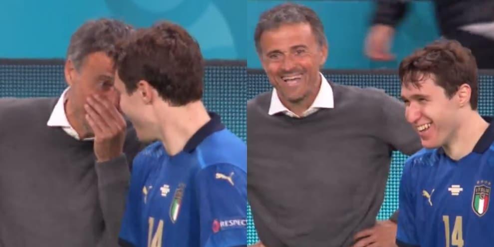 Luis Enrique e Chiesa, siparietto e risate durante Italia-Spagna!
