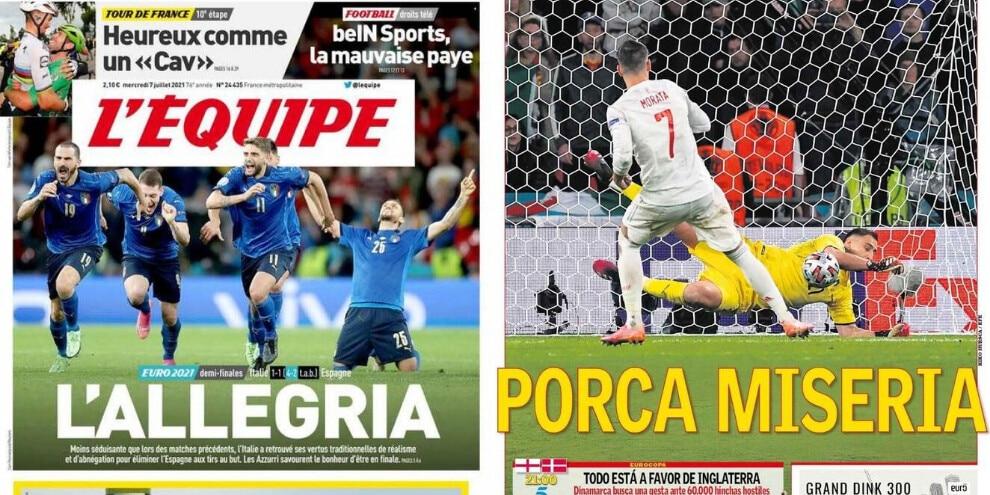 Da L'Équipe ad As: Francia e Spagna celebrano l'Italia