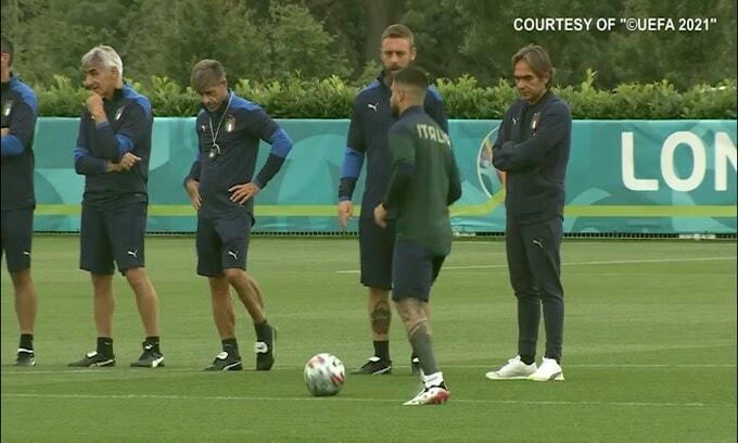 L'ultimo allenamento della Nazionale italiana prima della finale