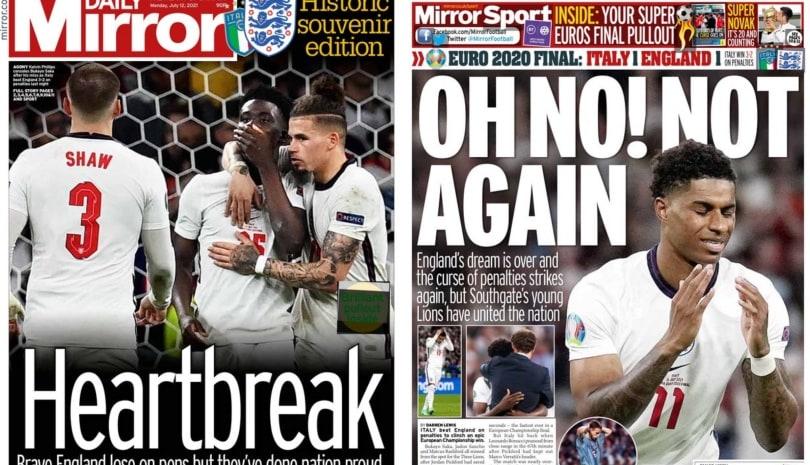 Italia Campione d'Europa: le prime pagine dei quotidiani inglesi