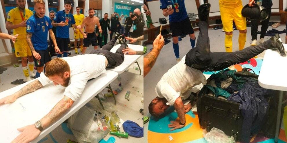De Rossi 'vola' sul tavolo: l'esultanza per l'Italia campione d'Europa