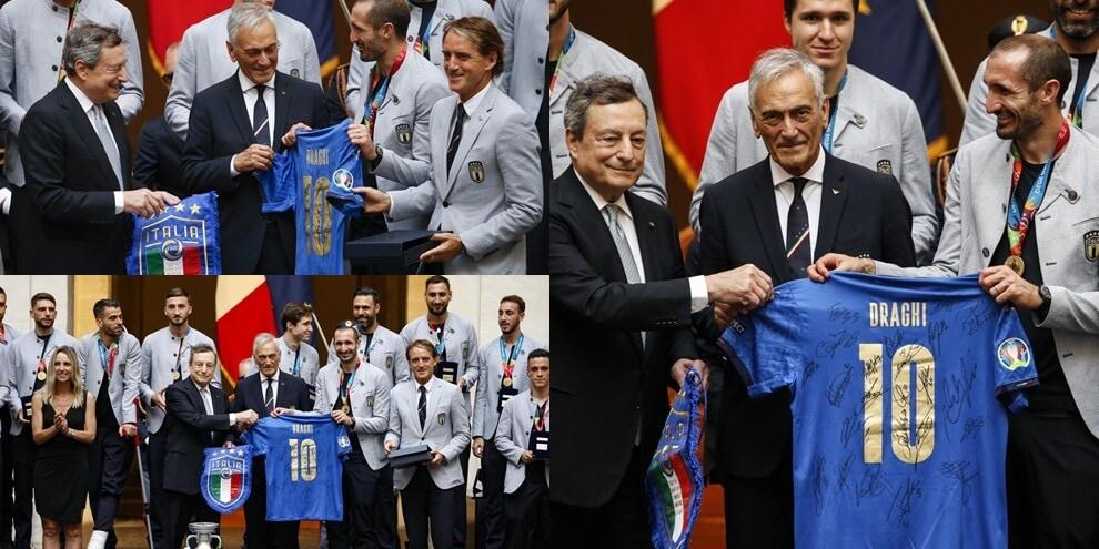L'Italia omaggia Draghi con la maglia numero 10 della Nazionale