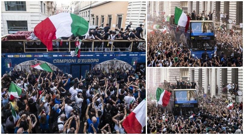 Delirio Italia: i campioni d'Europa festeggiano in mezzo ai tifosi