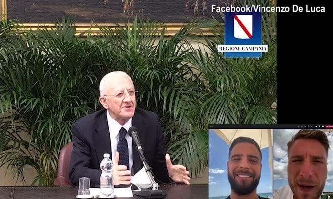 """De Luca a Insigne e Immobile: """"Avete onorato la Campania"""""""