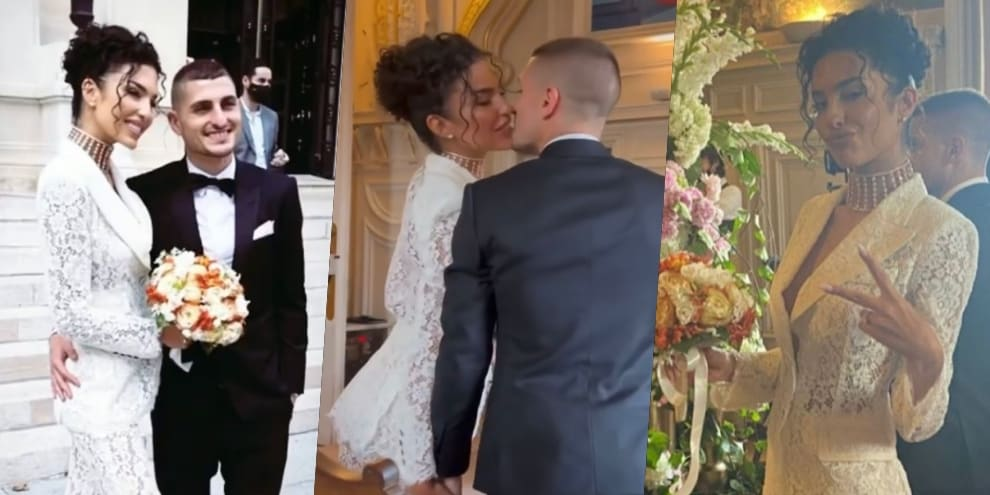 Verratti e Jessica sposi: abito in pizzo per la modella francese
