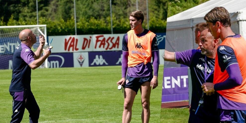 Fiorentina a Moena, Italiano a colloquio con Vlahovic
