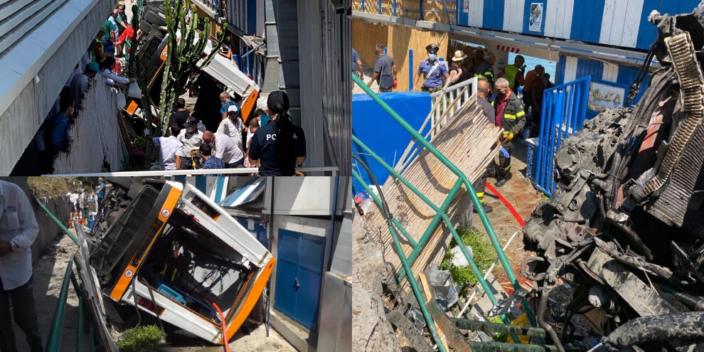 Dramma a Capri, minibus esce di strada e precipita su un lido