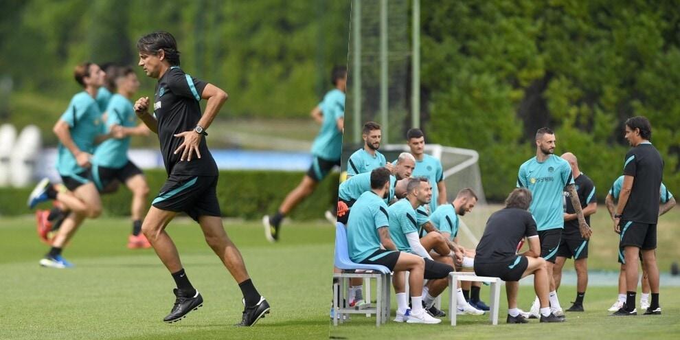 Inter, anche Inzaghi si allena. Poi la riunione