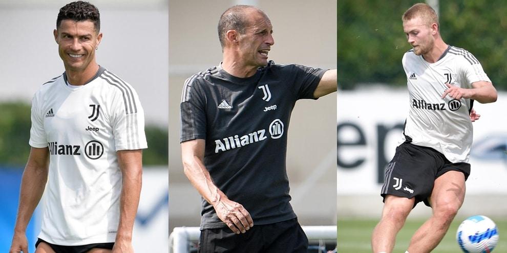 La Juve si allena: che grinta mister Allegri. E Ronaldo...sorride