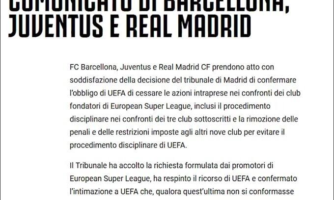 """Juve, Real Madrid e Barcellona: """"Avanti con la Superlega"""""""
