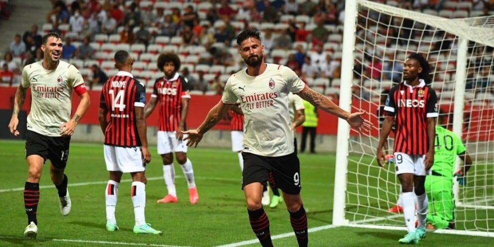 Milan, col Nizza è 1-1: Giroud in gol all'esordio