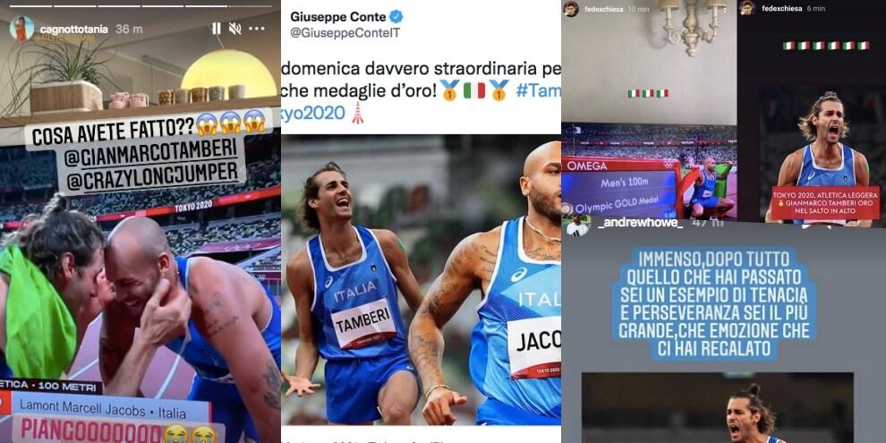 Olimpiadi: Jacobs e Tamberi, due ori per l'Italia. Le reazioni social