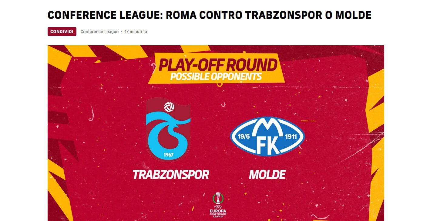 Conference League: Roma contro una tra Trabzonspor e Molde