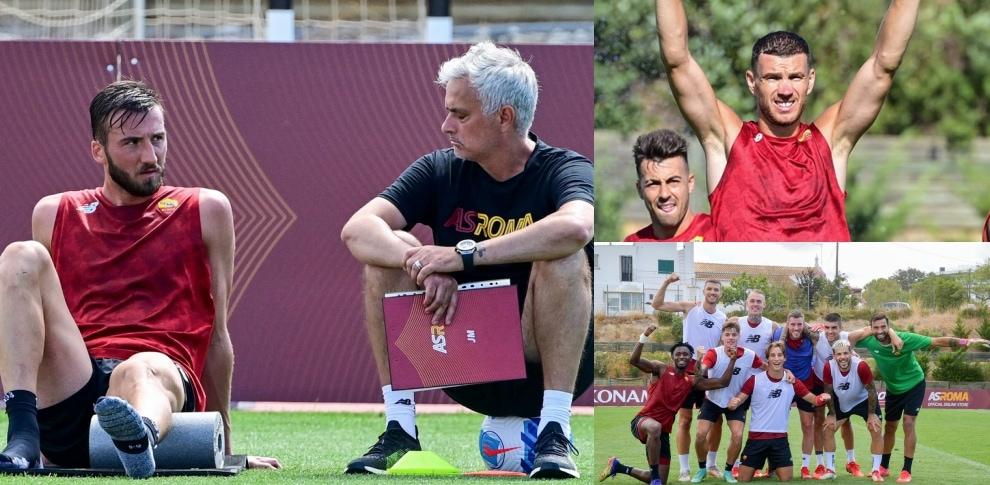 Roma, allenamento tra sorrisi e duro lavoro. Mourinho a colloquio con Cristante