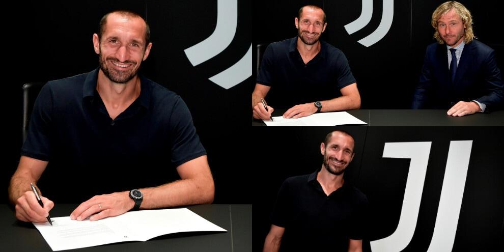 Juve, la firma di Chiellini fino al 2023. Presente anche Nedved