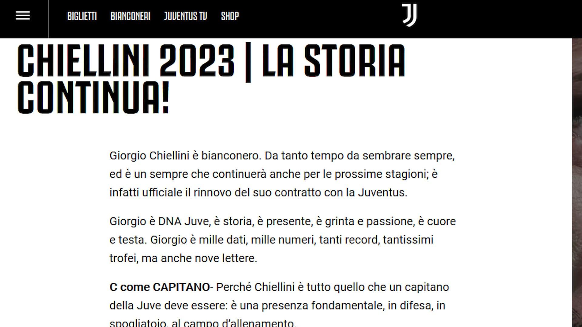 Juve, ufficiale: Chiellini fino al 2023