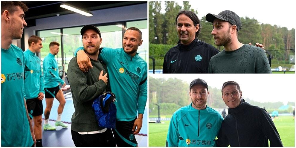 L'Inter riabbraccia Eriksen: l'incontro con Inzaghi e i compagni