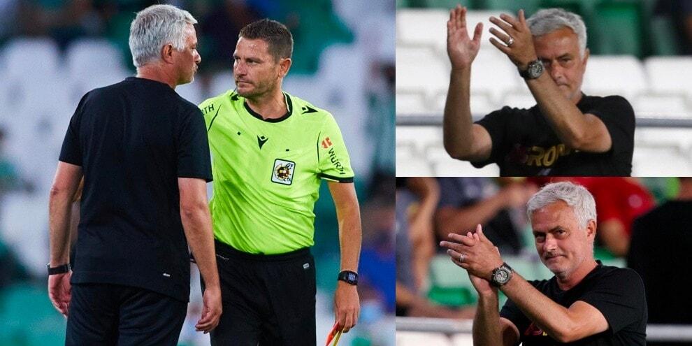 Mourinho espulso: discussione con l'arbitro e applauso polemico