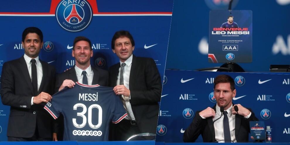 Psg, Messi in conferenza: dalla maglia al microfono personalizzato