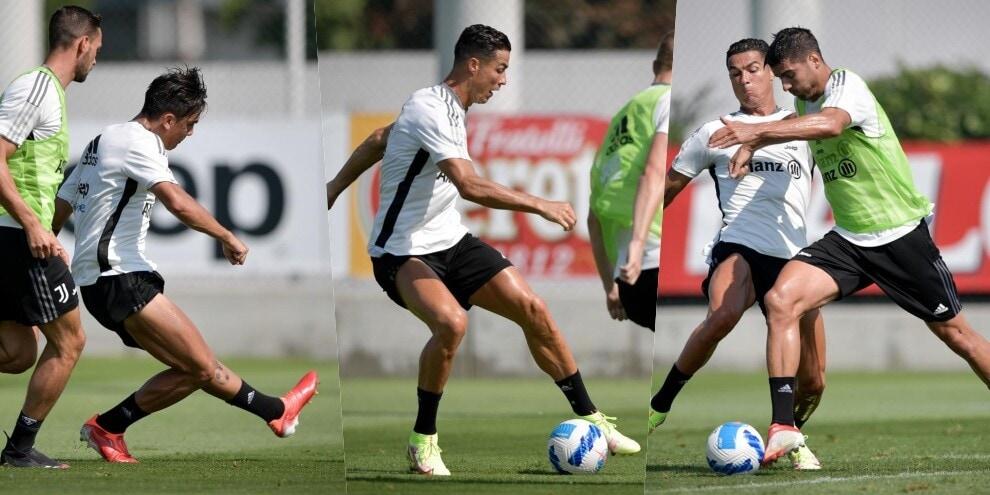 Tridente Juve, Allegri con Dybala, Ronaldo e Morata