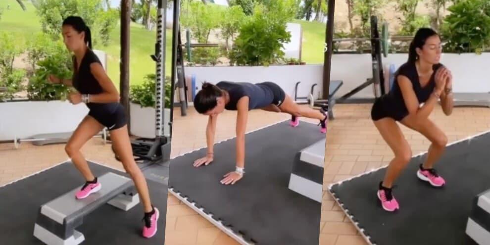 Elisabetta Gregoraci e il duro allenamento tra step e squat