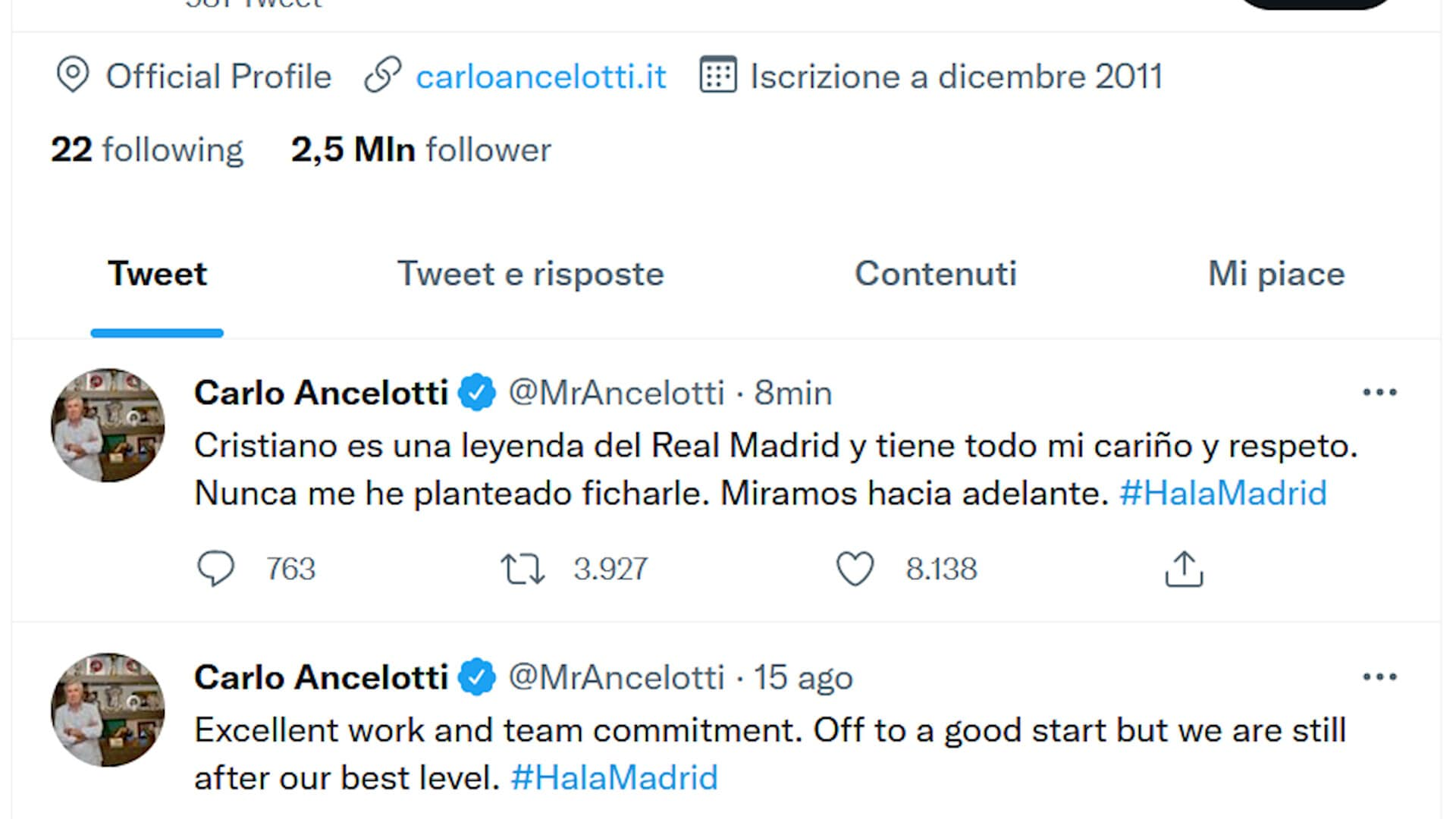 """La smentita di Ancelotti: """"CR7? Mai pensato di riportarlo al Real"""""""