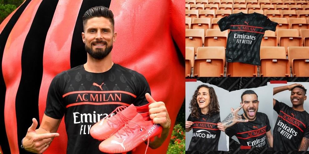 Milan, la terza maglia 2021-22 è total black. Giroud tra i testimonial