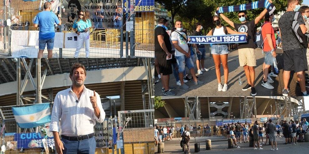 Napoli, l'entusiasmo dei tifosi al Maradona: c'è anche Ciro Ferrara