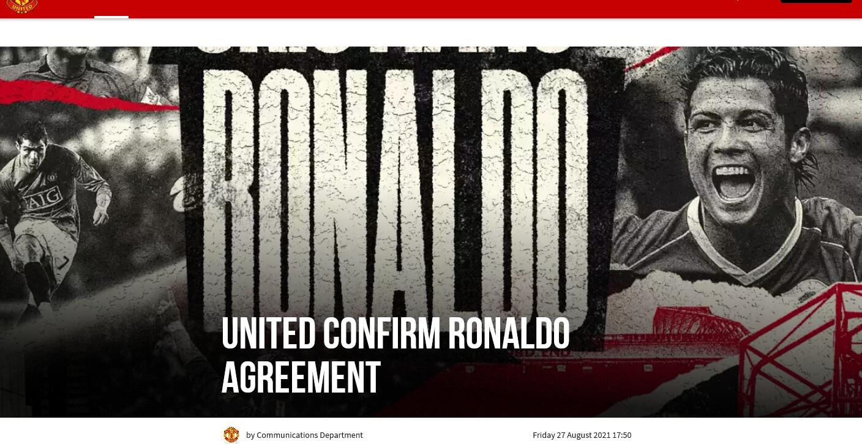 Ufficiale: Cristiano Ronaldo al Manchester United