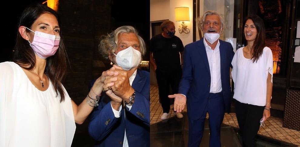 Massimo Ferrero e Virginia Raggi a cena in un ristorante di Roma