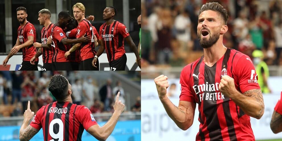 Giroud infiamma il Meazza con una doppietta: poker Milan al Cagliari