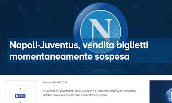 Napoli-Juve, Osservatorio nazionale blocca vendita biglietti