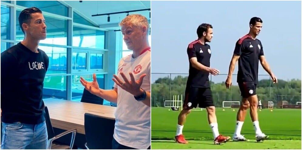 Manchester United, ecco Ronaldo: parla con Solskjaer e va in campo