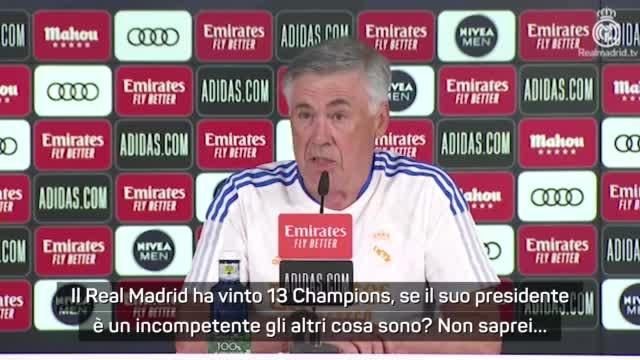 """Ancelotti punge Ceferin: """"Perez incompetente? E allora gli altri cosa sono?"""""""