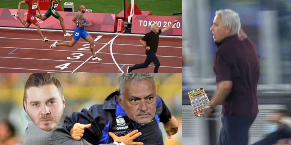 """Mourinho fa impazzire i tifosi della Roma e la sua """"corsa"""" scatena i social FOTO"""