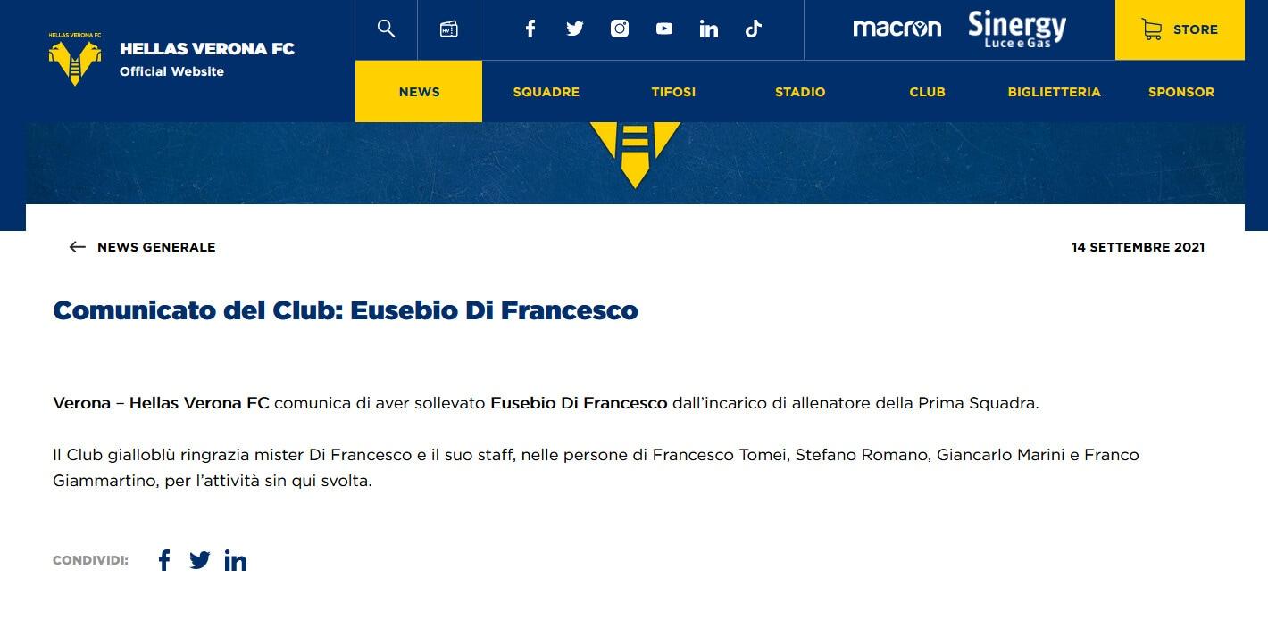 Verona, ufficiale: esonerato Di Francesco