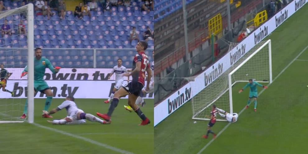 Genoa-Fiorentina, Castrovilli finisce contro il palo, che paura! La fotosequenza