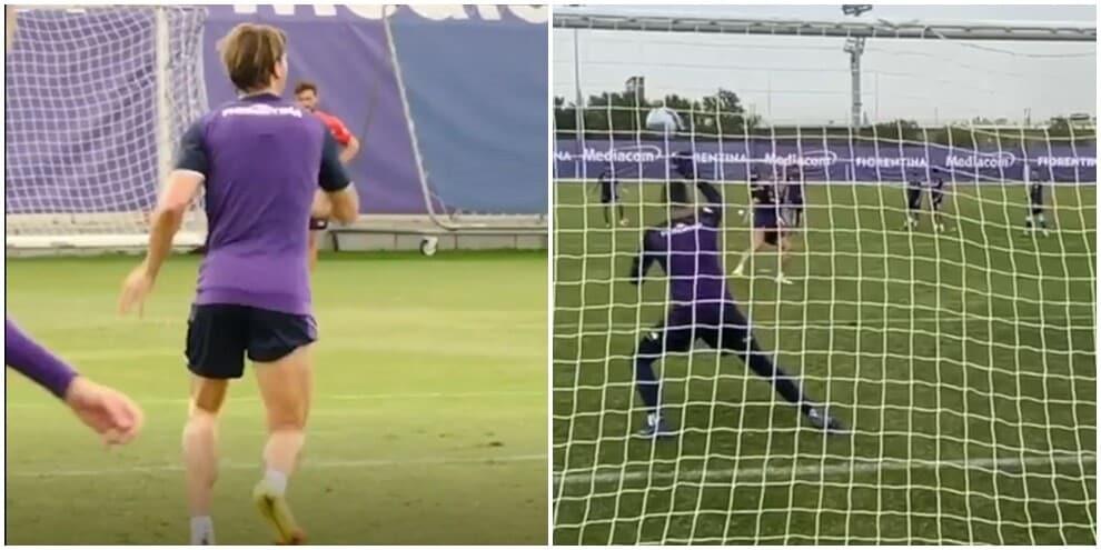 Vlahovic fa un super gol in allenamento...di tacco VIDEO