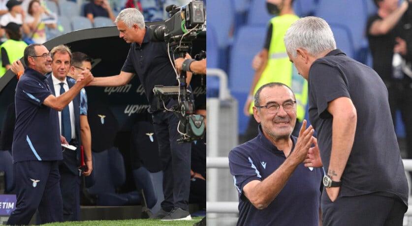 Sarri e Mourinho, stretta di mano prima del derby