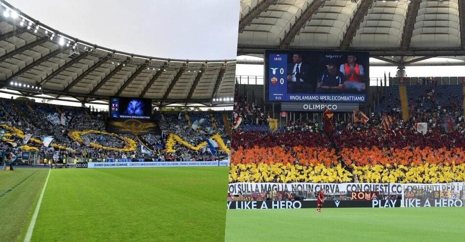 Lazio-Roma, coreografie da derby: spettacolo all'Olimpico