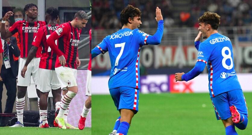 Leao illude il Milan, ribaltone Atletico con Griezmann e Suarez