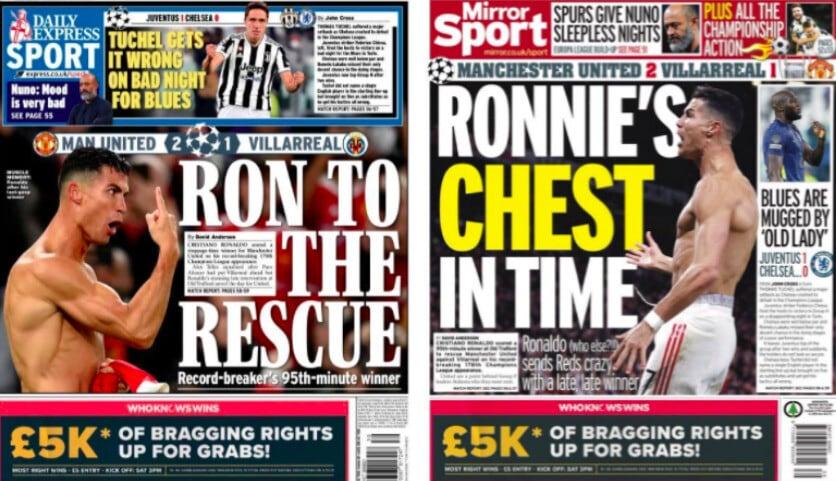 I tabloid esaltano Ronaldo, decisivo in Champions League
