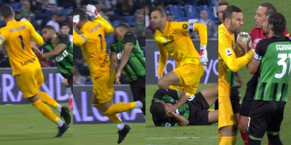 Handanovic esce su Defrel, il Sassuolo chiede l'espulsione: la fotosequenza