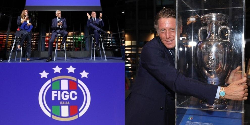 La Figc presenta il nuovo logo: Lapo posa con la coppa dell'Europeo