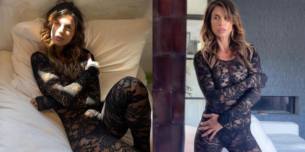 Elisabetta Canalis sensuale in pizzo: le trasparenze fanno il pieno di like