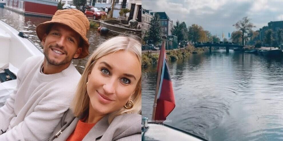 Mertens in barca sui canali di Amsterdam