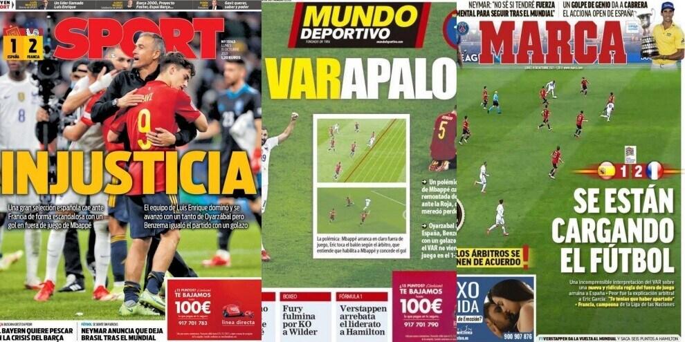 """In Spagna furiosi per il gol di Mbappé: """"Ingiustizia"""". Ecco le prime pagine"""