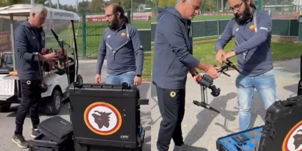 Roma, Mourinho mostra il drone usato per gli allenamenti a Trigoria