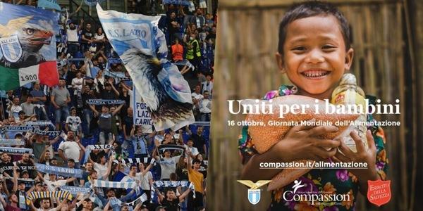 La Lazio al fianco di Compassion: all'Olimpico si donano alimenti