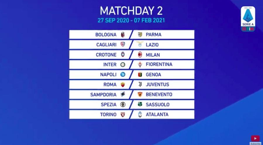 Calendario Serie A 2020 2021 Inter Juve E Lazio Roma Al 18 Turno